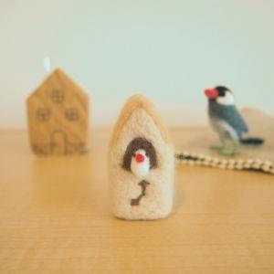 羊毛フェルトの白文鳥時計