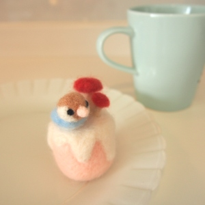 羊毛フェルトのことりケーキ