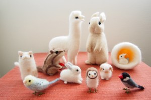 羊毛フェルトのうさぎアルパカ鳥たち