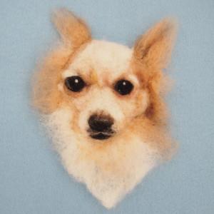 羊毛フェルトブローチのチワワ犬