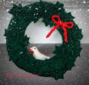 羊毛フェルト小鳥のクリスマスリース